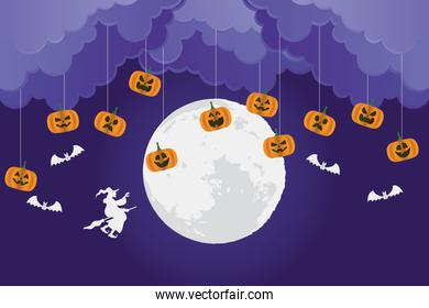 happy halloween card with pumpkins and witch flying scene