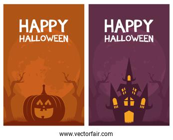 happy halloween card letterings and pumpkin with castle