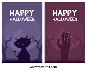 happy halloween card letterings and cat with hand death