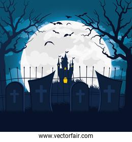 happy halloween card with castle haunted in cemetery scene