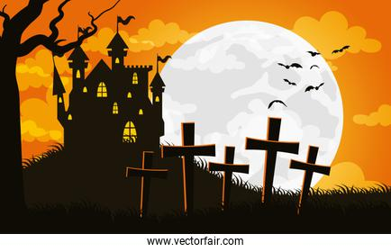 happy halloween card with haunted house in cemetery scene
