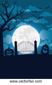 happy halloween card with pumpkins and gates in moon scene