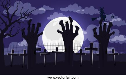 happy halloween card with lettering and hands death in cemetery