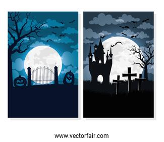 happy halloween card with haunted house and cemetery