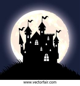 happy halloween card with haunted house and moon scene