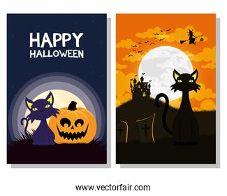 happy halloween card with black cats mascots and witch flying scene