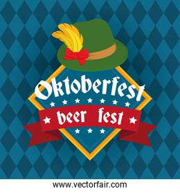 oktoberfest party lettering in poster with tyrolean hat emblem