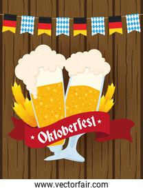 oktoberfest party lettering in ribbon with beers cups