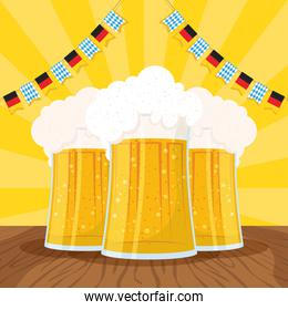 oktoberfest party celebration poster with beers jars and garlands