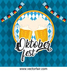 oktoberfest party lettering in poster with beers jars