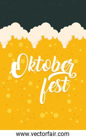 oktoberfest party lettering in poster with beer liquid