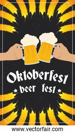 oktoberfest party lettering in poster with hands toasting beers and barley spikes
