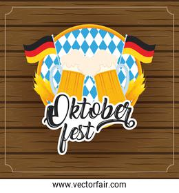 oktoberfest party lettering in cartel with beers jars and germany flags wooden background