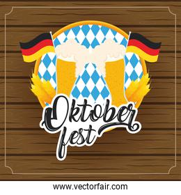 oktoberfest party lettering in poster with beers glasses and germany flags wooden background