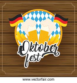 oktoberfest party lettering in poster with beers jars and germany flags wooden background