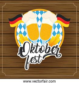 oktoberfest party lettering in poster with beers cups and germany flags