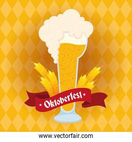 oktoberfest party lettering in ribbon with