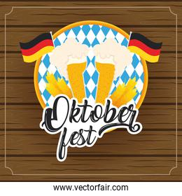 oktoberfest party lettering in poster with beers cups and germany flags wooden background