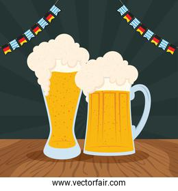 oktoberfest party celebration poster with beers and garlands