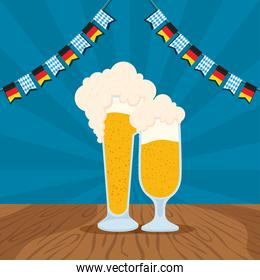 oktoberfest party celebration poster with beers cups and garlands