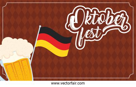 oktoberfest party lettering in poster with beer in glass and germany flag