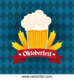 oktoberfest party lettering in ribbon with beer jar and barley spikes