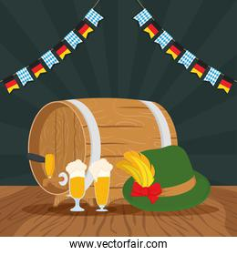 oktoberfest party celebration poster with beers and tyrolean hat