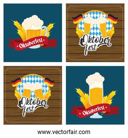oktoberfest party celebration poster with set icons in wooden background