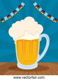 oktoberfest party celebration poster with beer jar and garlands