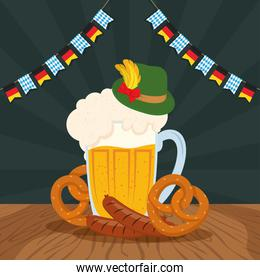 oktoberfest party celebration poster with beer jar and food