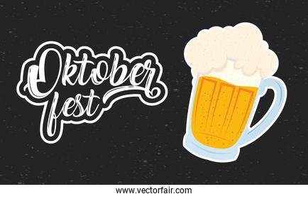 oktoberfest party lettering in poster with beer jar