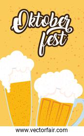 oktoberfest party lettering in poster with beers