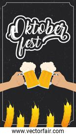 oktoberfest party lettering in poster with hands toasting beers