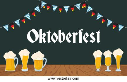 oktoberfest party lettering in poster with beers and garlands
