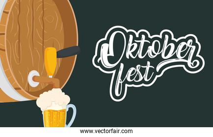 oktoberfest party lettering in poster with barrel and jar beers