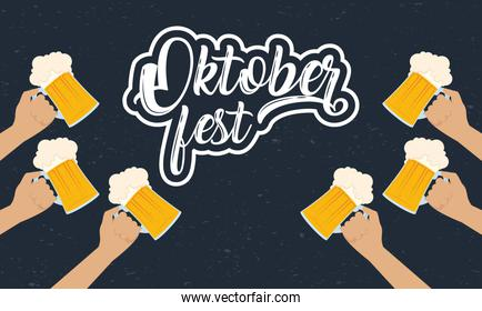 oktoberfest party lettering in poster with hands lifting beers