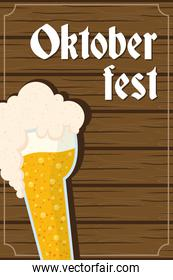 oktoberfest party lettering in poster with beer in wooden background