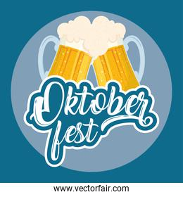 oktoberfest party lettering in poster with beers toast