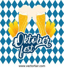 oktoberfest party lettering in poster with beers and checkered flag