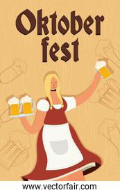 beautiful german woman drinking beers character