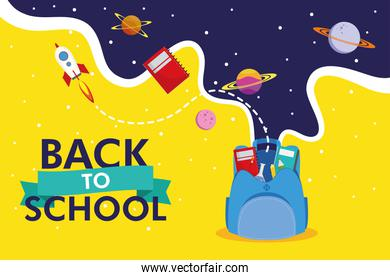 back to school season poster with schoolbag and space icons
