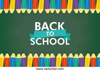 back to school season poster with lettering and colors pencils