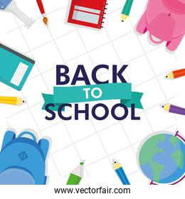back to school season poster with lettering and set supplies