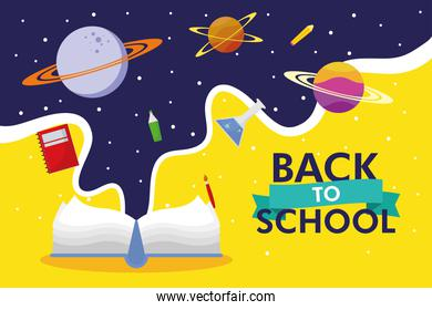 back to school season poster with text book and space icons