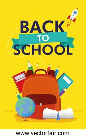 back to school season poster with lettering and schoolbag