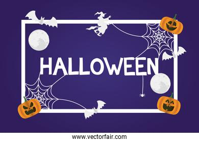 happy halloween card with pumpkins and witch flying square frame