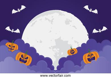 happy halloween card with pumpkins and fullmoon in clouds