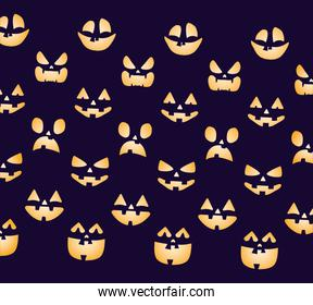 happy halloween card with pumpkins faces pattern