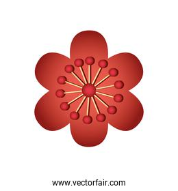 chinese flower icon, detailed style