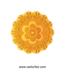 flower mooncake icon, detailed style
